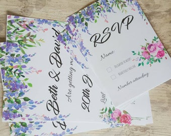 Wedding invites, wedding invitations, lilac wedding, Cadbury purple wedding, floral invitations, cheap invitations, budget wedding, purple
