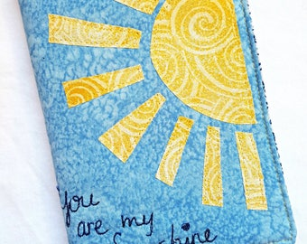You Are My Sunshine Quilted Journal / Journal Diary / Journal Notebook / Writing Journal / Fabric Journal / Handmade Journals / Small Gift