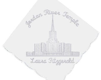 Jordan River Temple Embroidered Embroidered Scalloped Edge Handkerchief