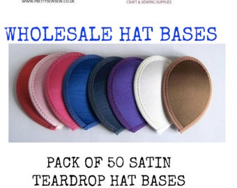 "hat bases millinery satin hat base 5""(13cm) satin teardrop fascinator base pack of 50 wholesale"
