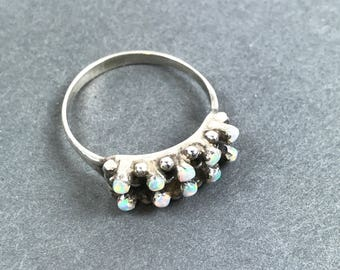 Vintage Zuni Petit Point Opal Sterling Silver Ring