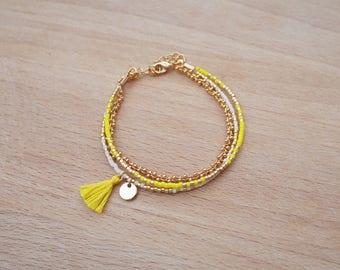 Bracelet Jaune multi rangs perles miyuki dorée à l'or fin