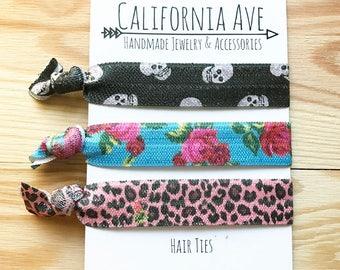 Rockabilly Leopard Hair Tie Set of 3