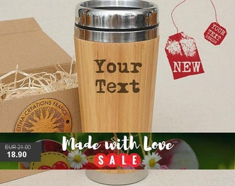 Personalized Bamboo Wood Gift Travel Mug with Customized Image or Text Car Tumblier Desk Coffee Tea Cup with Lid