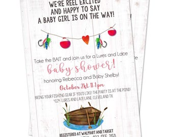Lures and Lace Baby Shower or Birthday theme Invitation - Girl Baby Shower - Fishing - Shiplap - Fishing Baby Shower Invitation