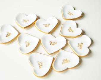 10 Wedding Favors, white heart favors, wedding gift, shower favor