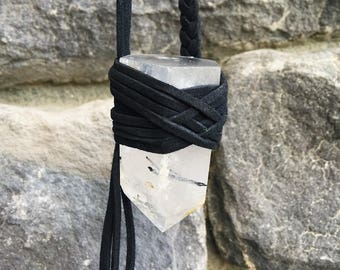 Black Tourmaline in Quartz Healing Crystal Necklace Tourmalated Quartz