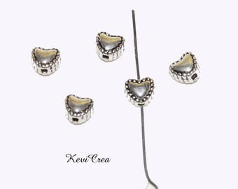 20/50/100 beads hearts silver plated 6mm