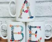 Monogram mug, Floral mono...