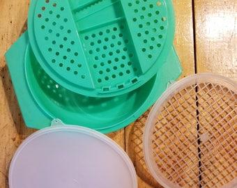 Vintage Tupperware Jadeite Green Cheese Grater/Shredder, Strainer, Bowl & Seal #786