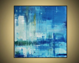 "Blue, White green ,abstract painting,36""x36""on gallery wrapped stretched canvas ready to hang"