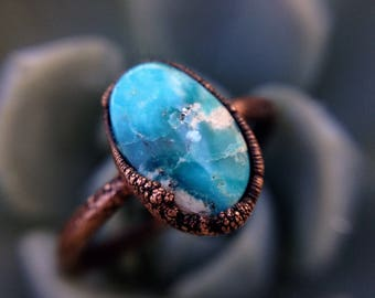 White Water Turquoise | White Water Stone | Turquoise And Pyrite | Turquoise Ring | Size 7 3/4 | Ready-To-Ship