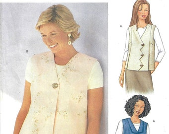Butterick 3016 Fast & Easy Sewing Pattern Misses Vest Designs Today's Fit by Sandra Betzina sz Bust 32-36