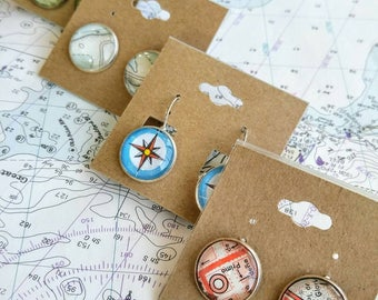 CUSTOM Vintage Map Earrings in Stud or Drop: Choose your own Locations, Map Jewelry for Her
