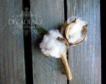 Cotton Boutonniere, Natural Boutonniere, Cotton Boll boutonniere, Groomsman Boutonniere, Boutonniere, Wedding Accessory, Groom Acccessory