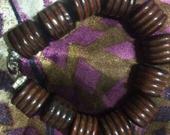 Dark Brown Bamboo Style Beaded Bracelet for Women