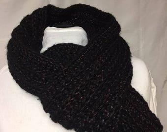 Long ribbed crocheted scarf