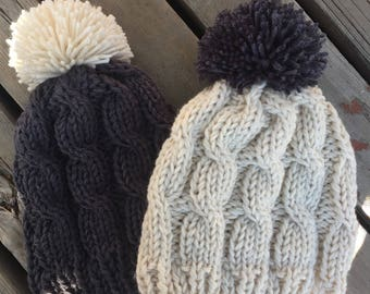 Hand Knit Hats, Luv Beanies, Girl Hats, Stocking Hats, Girl Stocking hats, Ski Hats, Hat with Pom Pom, Elf Hats, Hats for kids, Adult hats