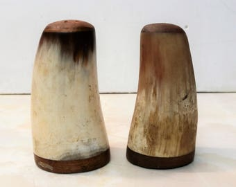 Vintage Handcrafted Horn Salt and Pepper Cellars with Wood Accents