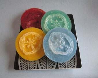 Loofah Soap, Set of 4, Melt and Pour, Glycerin Soap Bars, Loofa Soaps, Exfoliating Soap, Soap Gift Sets, Great Gifts, Colorful Soaps
