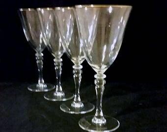 Gold Rimmed White Wine Glasses Set of 4