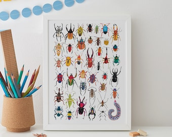 Bug Print, Insect Print, Insect Art, Beetle Print, Kids room decor, Gift for him, Animal Print, Bug Art, Bugs, Insects, Wall Art, Lady Bugs