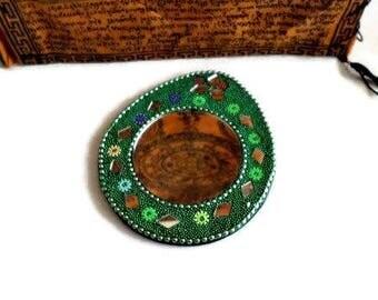 Small purse mirror, boho Indian handmade mosaic mirrors, sequins MF 09