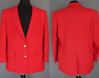 Red Men's Jacket    80's Red Men's Sports Coat Men's Red Blazer