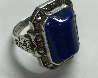 Vintage Uncas Sterling SilverBlue Stone Lapis Like Marcasite Statement Ring