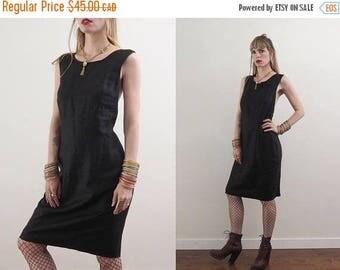 FLASH SALE :) vintage 90's ANNE Talor linen black cage back dress // minimalist grunge sophisticated