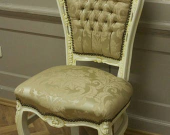 Dining room chair, Baroque style, light fabric