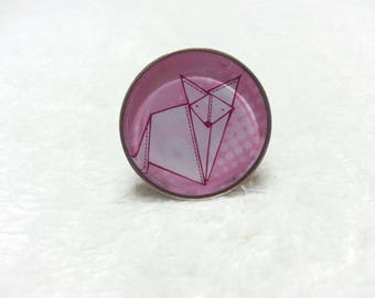 Pink Origami Fox ring