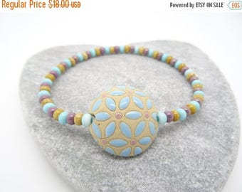 On Sale Ceramic Bracelet, Blue Bracelet, Stretchy Bracelet, Handmade Ceramic Lentil Bead Bracelet, Bulgarian Ceramic Beads, Pastel Blue,