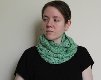 Crochet Cowl in Sage Green, Made Long for Added Warmth