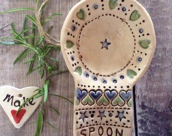Spoonrest, ceramic, handmade, countrystyle, rustic, pretty