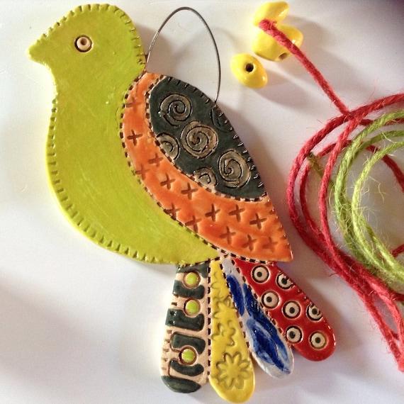 Handmade Ceramic Hanging Bird