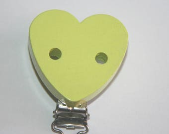 Heart shaped wooden clip for pacifier clip-lime