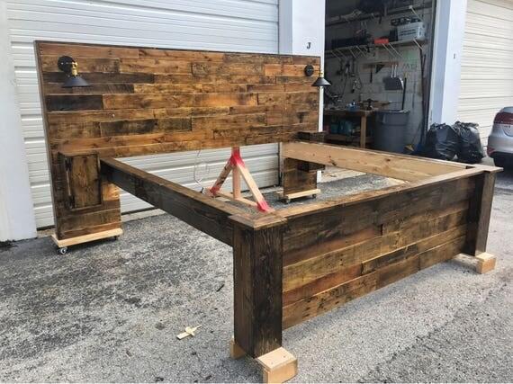 rustic bed set headboard footboard bed frame cabinets usb. Black Bedroom Furniture Sets. Home Design Ideas