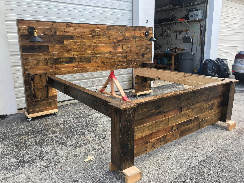 Rustic Bed Set Headboard Footboard Bed Frame 2 Cabinets