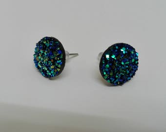 "Earrings Stud - dome ""druzy"" blue iridescent 10mm"