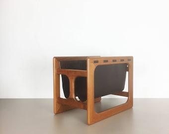 minimalistic 70s danish teak magazine rack design   made by Salin Mobler, denmark   eames panton era