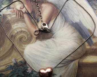 Gorgeous Italian Puffed Heart Necklace