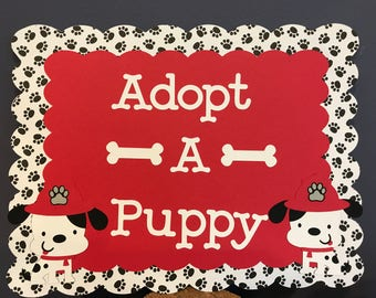 Boy Adopt a Puppy Sign