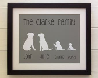 "FRAMED Personalised Family Tree Labrador Print, 12""x10"", 20 colours options, Black/White Frame, Christmas, Birthday, Picture Gift"