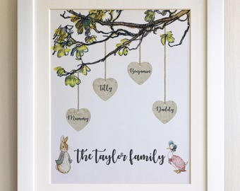 FRAMED Personalised Peter Rabbit Family Tree Print, Christening, Nursery, Birth, Picture Gift, Pooh Bear, Choice of 3 frames