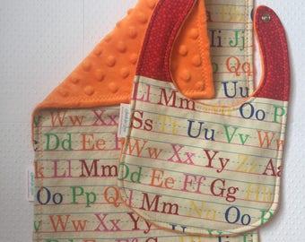 Alphabet, ABC Burp Cloth and Bib