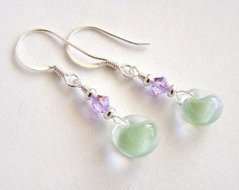Sweet Pea Earrings, Pea Green Lampwork Glass Drop Earrings, Green Glass Drop Silver Earrings, Violet Swarovski Crystal Earrings