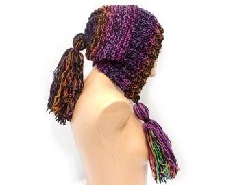 READY TO SHIP - Pom Pom Hat Slouchy Womens Ear Flap Knit Beanie - Charlotte