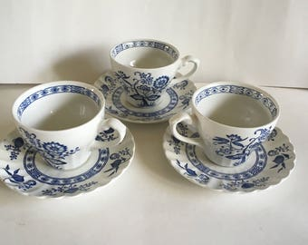 Vintage J. G. Meakin England Blue Nordic Pattern Ironstone Teacup with Saucer