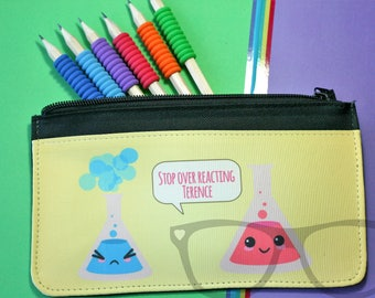 Science Pencil case, Science, pun, conical flask, design, Stop overreacting, Terence, kawaii, kawai, Back to school, Stationery, Pun, Joke,